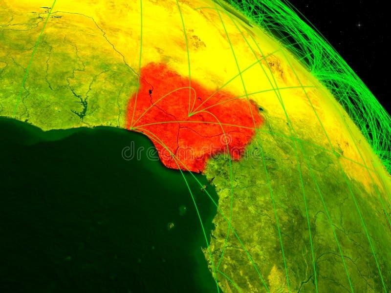 Nigeria en el globo digital ilustración del vector