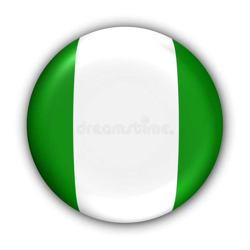 Nigeria Flag. World Flag Button Series - Africa - Nigeria (With Clipping Path stock illustration