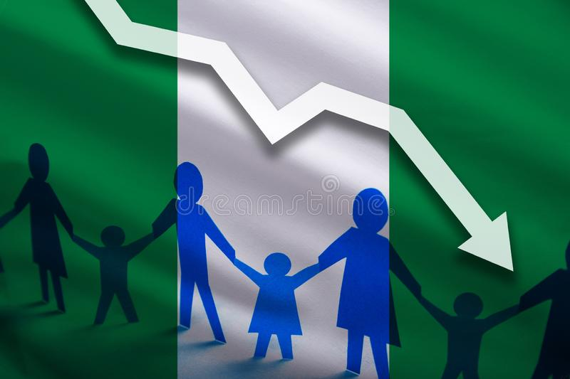 Nigeria flag background of the arrow chart down. Decrease in the number of the country`s rape. Fertility below the measurement. Reducing the flow of refugees vector illustration