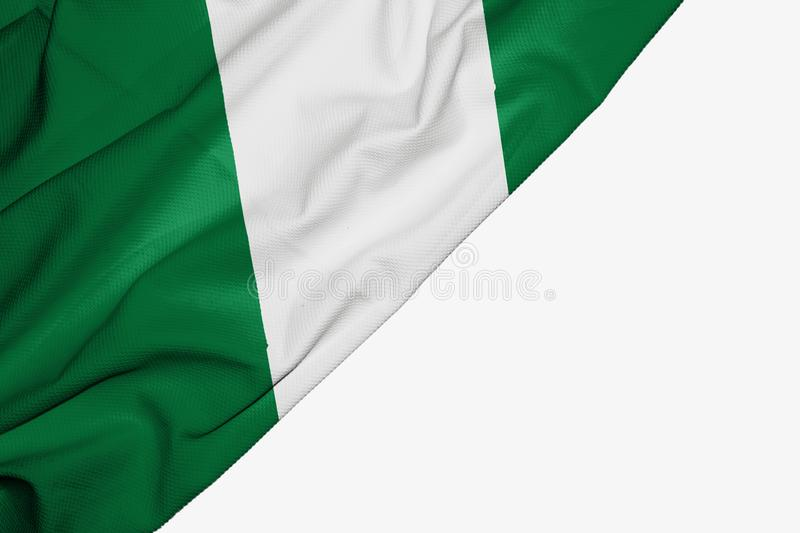 Nigeria flag of fabric with copyspace for your text on white background. Africa african banner best capital colorful competition country ensign free freedom stock illustration
