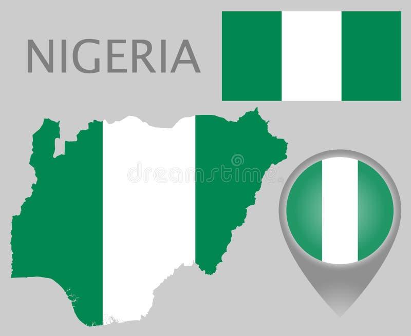 Nigeria flaga, mapa i mapa pointer, ilustracja wektor
