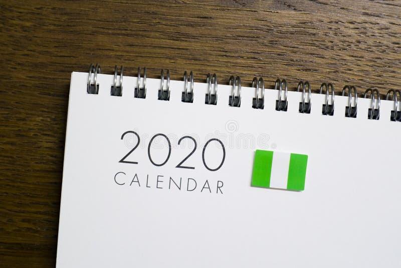 Nigeria flaga na 2020 kalendarzu zdjęcie royalty free