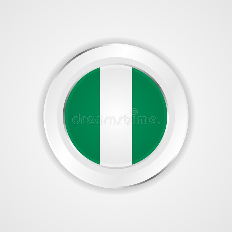 Nigeria flaga w glansowanej ikonie royalty ilustracja
