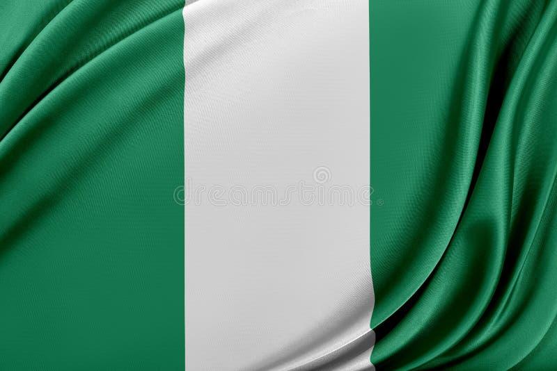 Nigeria flagga med en glansig siden- textur vektor illustrationer