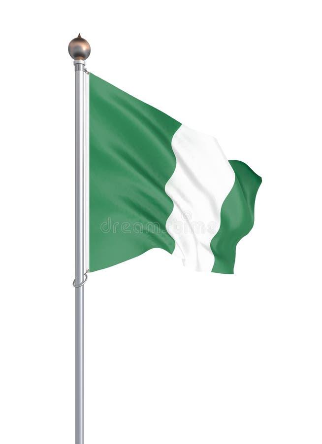 Nigeria flagga som bl?ser i vinden f?nster f?r textur f?r bakgrundsdetalj tr?gammalt 3d tolkning, vinkande flagga Isolerat p? vit stock illustrationer