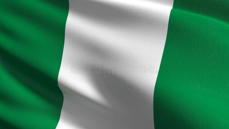 Nigeria flagi państowowej dmuchanie w wiatrze Oficjalny patriotyczny abstrakcjonistyczny projekt 3D renderingu ilustracja falowan ilustracja wektor