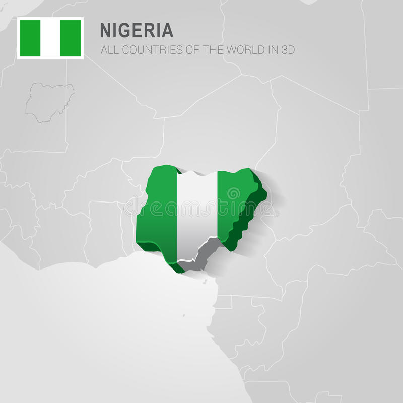 Nigeria gezeichnet auf graue Karte lizenzfreie abbildung