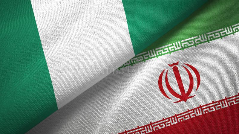 Nigeria i Iran dwa flagi tekstylny p??tno, tkaniny tekstura royalty ilustracja