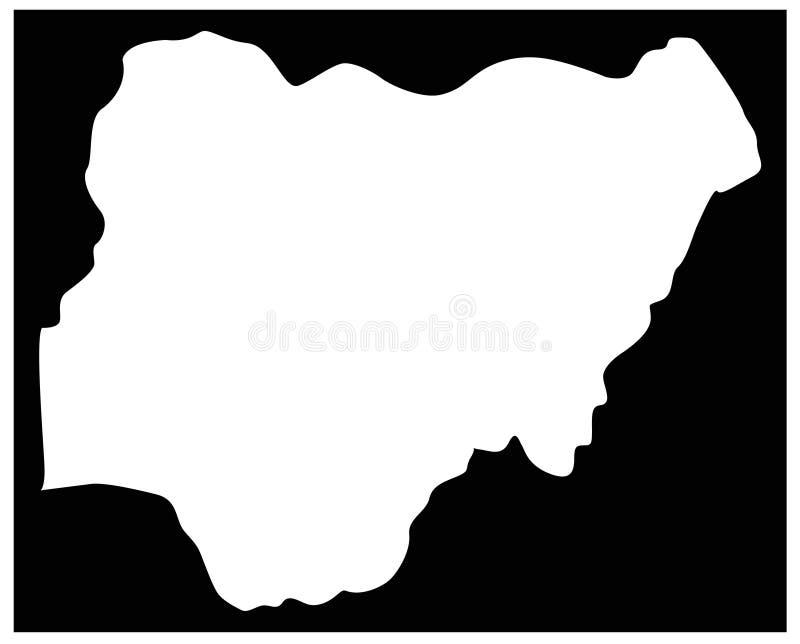 Nigeria-Karte - Land zwischen Mittel- und West-Afrika vektor abbildung