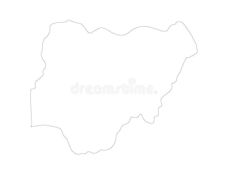 Nigeria-Karte - Land zwischen Mittel- und West-Afrika lizenzfreie abbildung