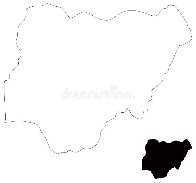 Nigeria-Karte - Land zwischen Mittel- und West-Afrika stock abbildung