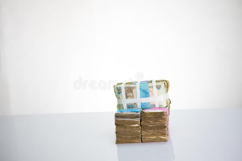 Nigeria local currency N1000, N200, N500  naira notes in a bundle withwhite strap. Nigeria local currency N1000, N200, N500 naira notes in a bundle with white royalty free stock photography