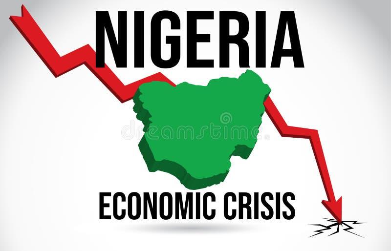 Nigeria Map Financial Crisis Economic Collapse Market Crash Global Meltdown Vector. Illustration royalty free illustration