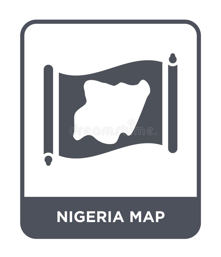 Nigeria map icon in trendy design style. nigeria map icon isolated on white background. nigeria map vector icon simple and modern. Flat symbol for web site stock illustration