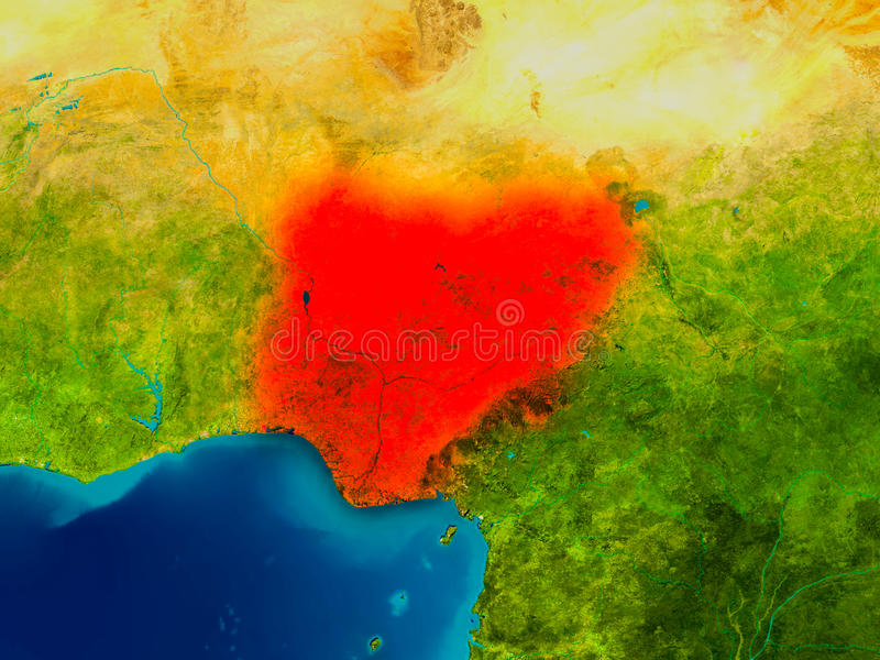 Nigeria on physical map stock illustration Illustration of