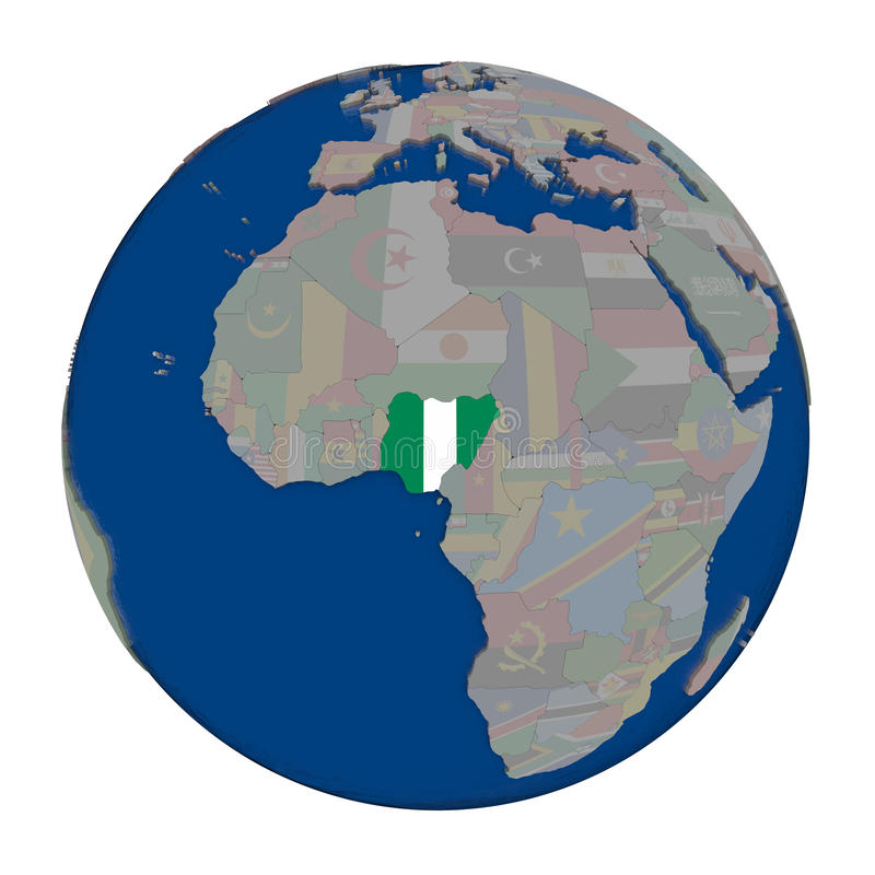 Nigeria on political globe. Nigeria with embedded national flag on political globe. 3D illustration isolated on white background vector illustration