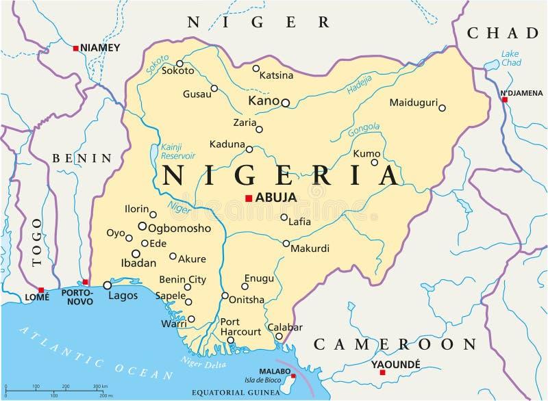 Nigeria Political Map stock vector Illustration of kano 103024893
