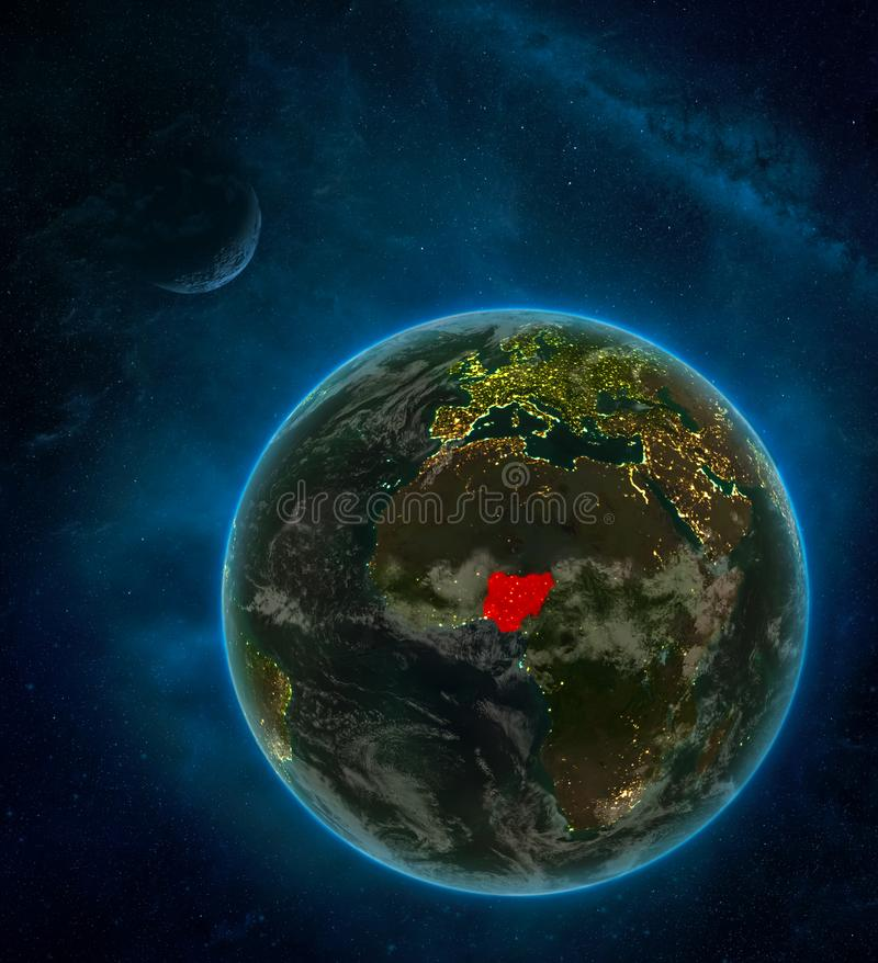 Nigeria from space on Earth at night surrounded by space with Moon and Milky Way. Detailed planet with city lights and clouds. 3D. Illustration. Elements of vector illustration