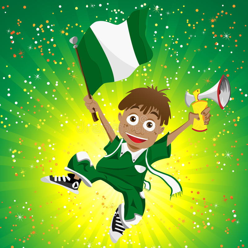 Nigeria Sport Fan With Flag And Horn Royalty Free Stock Image