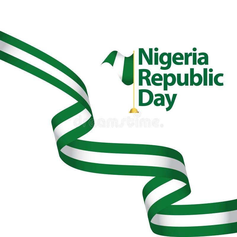 Nigeria-Tag der Republik-Vektor-Schablonen-Entwurfs-Illustration lizenzfreie abbildung