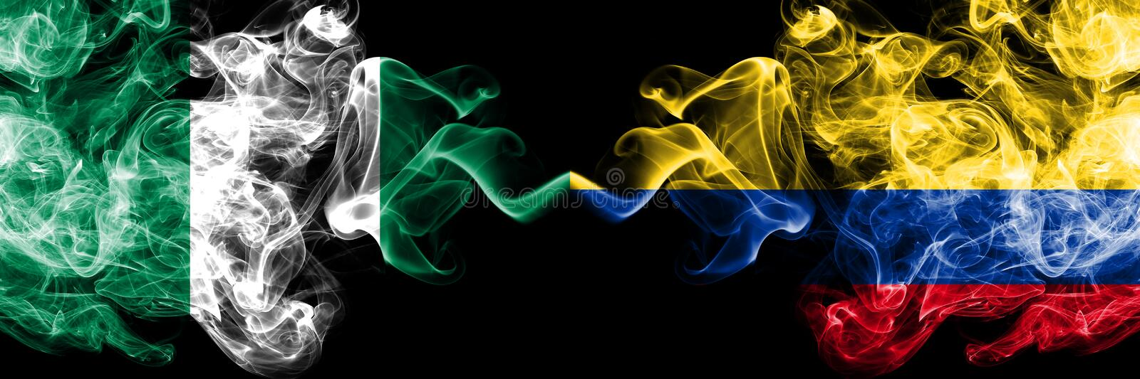 Nigeria vs Colombia, Colombian abstract smoky mystic flags placed side by side. Thick colored silky smoke flags of Nigerian and. Colombia, Colombian stock illustration