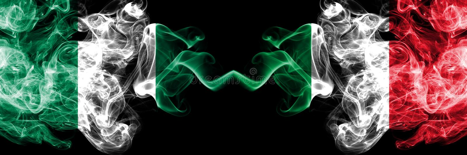 Nigeria vs Italy, Italian abstract smoky mystic flags placed side by side. Thick colored silky smoke flags of Nigerian and Italy, vector illustration