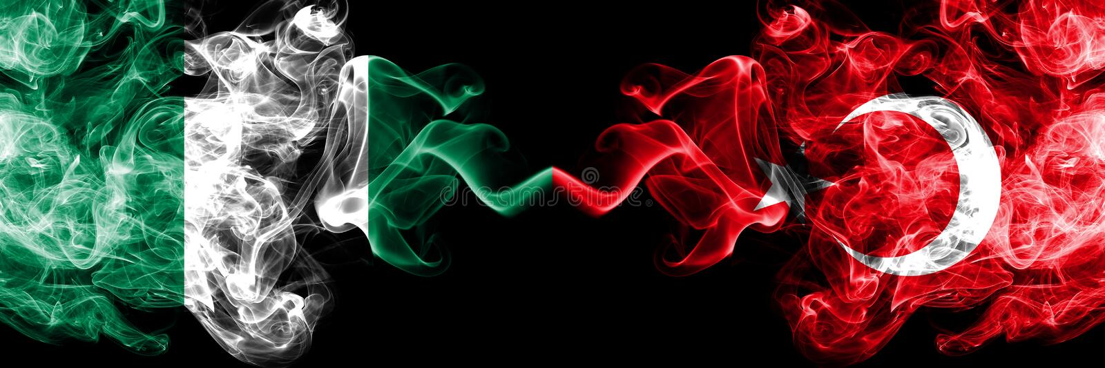 Nigeria vs Turkey, Turkish abstract smoky mystic flags placed side by side. Thick colored silky smoke flags of Nigerian and Turkey stock illustration