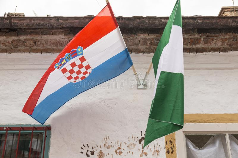 Nigerian and Croatian flag. In Croatian capital Zagreb during FIFA World championship stock photo