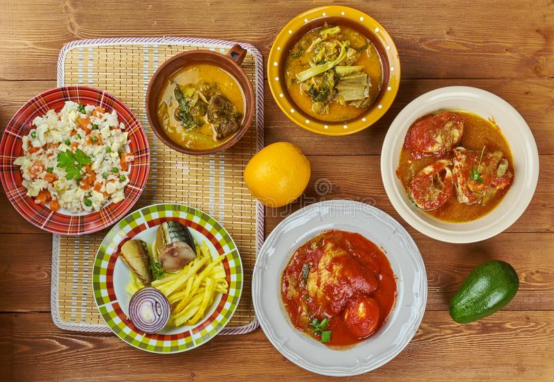 Nigerian. Cuisine - Traditional assorted dishes, Top view royalty free stock images
