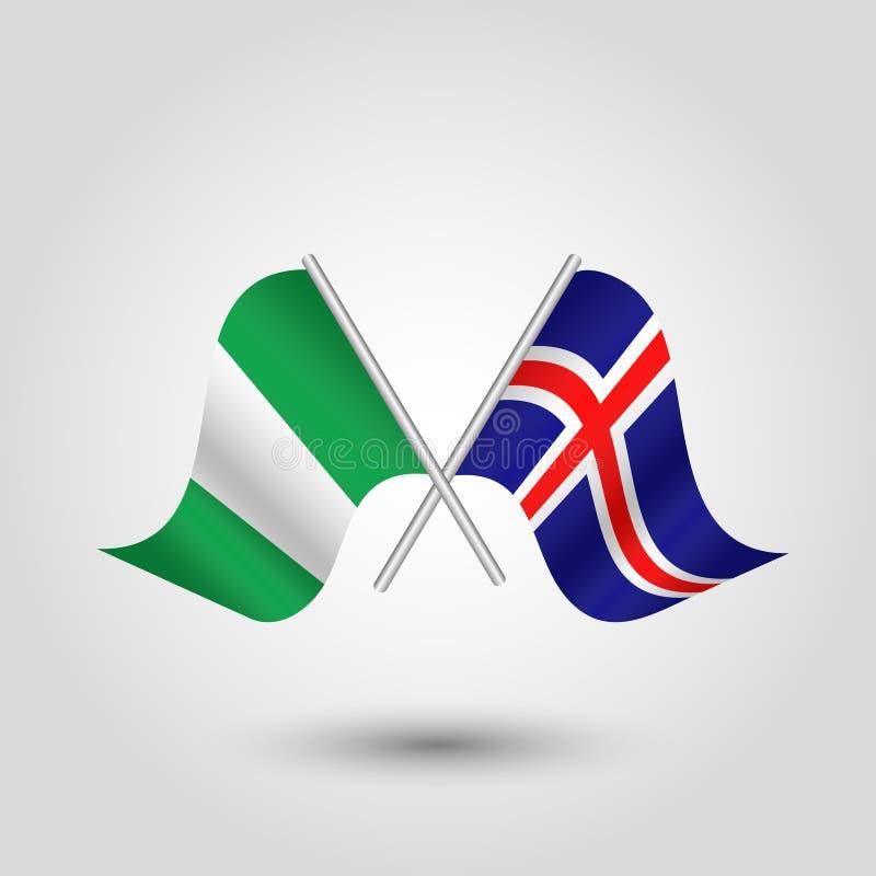 Nigerian e islandés cruzados vector banderas en los palillos de plata - símbolo de Nigeria y de Islandia libre illustration