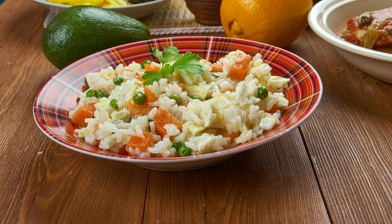 Nigerian Egg Fried Rice. Nigerian cuisine - Nigerian Egg Fried Rice, Traditional assorted dishes, Top view royalty free stock image