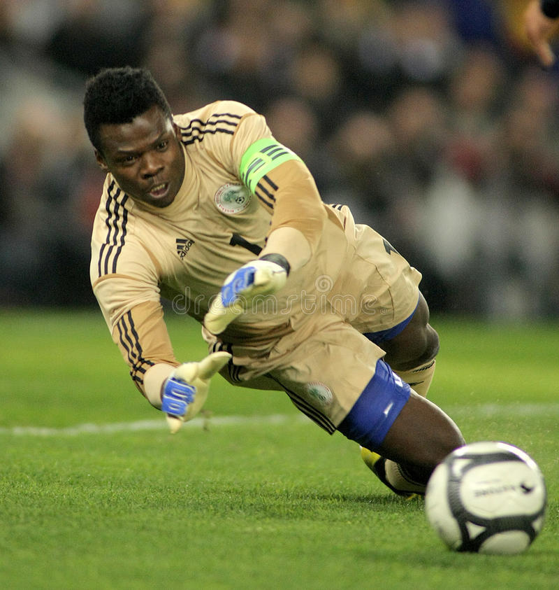 Nigerian goalkeeper Chigozie Agbim. In action during the friendly match between Catalonia and Nigeria at Estadi Cornella on January 2, 2013 in Barcelona, Spain stock photos