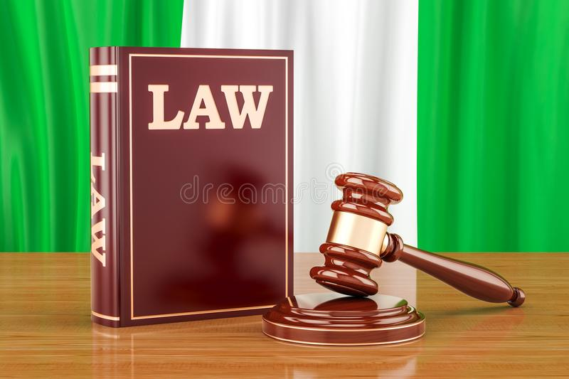 Nigerian law and justice concept, 3D rendering stock illustration