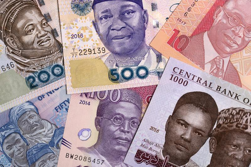 Nigerian Naira, a background. With money from Nigeria stock image