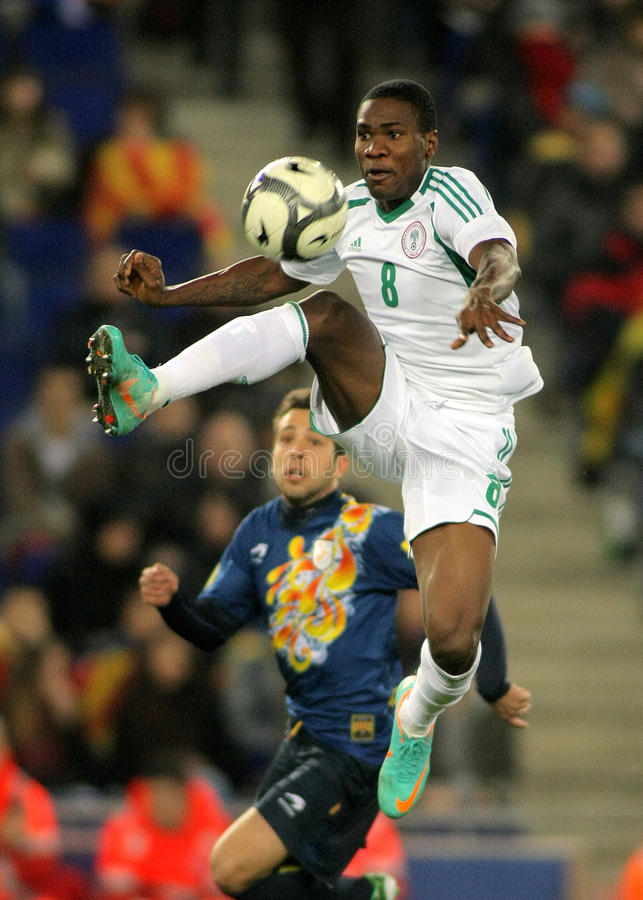 Nigerian player Brown Ideye. In action during the friendly match between Catalonia and Nigeria at Estadi Cornella on January 2, 2013 in Barcelona, Spain royalty free stock photography