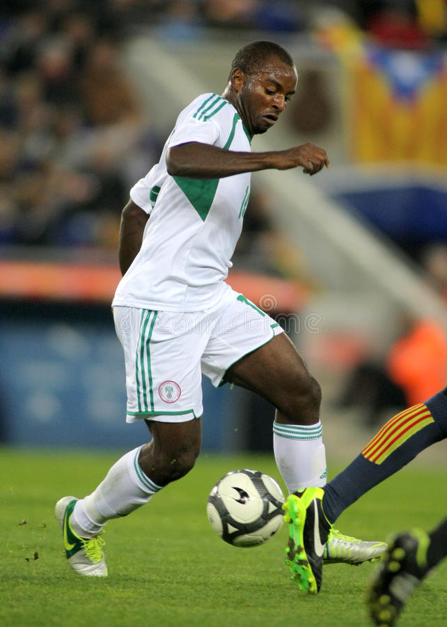 Nigerian player Sunday Mba. In action during the friendly match between Catalonia and Nigeria at Estadi Cornella on January 2, 2013 in Barcelona, Spain royalty free stock image