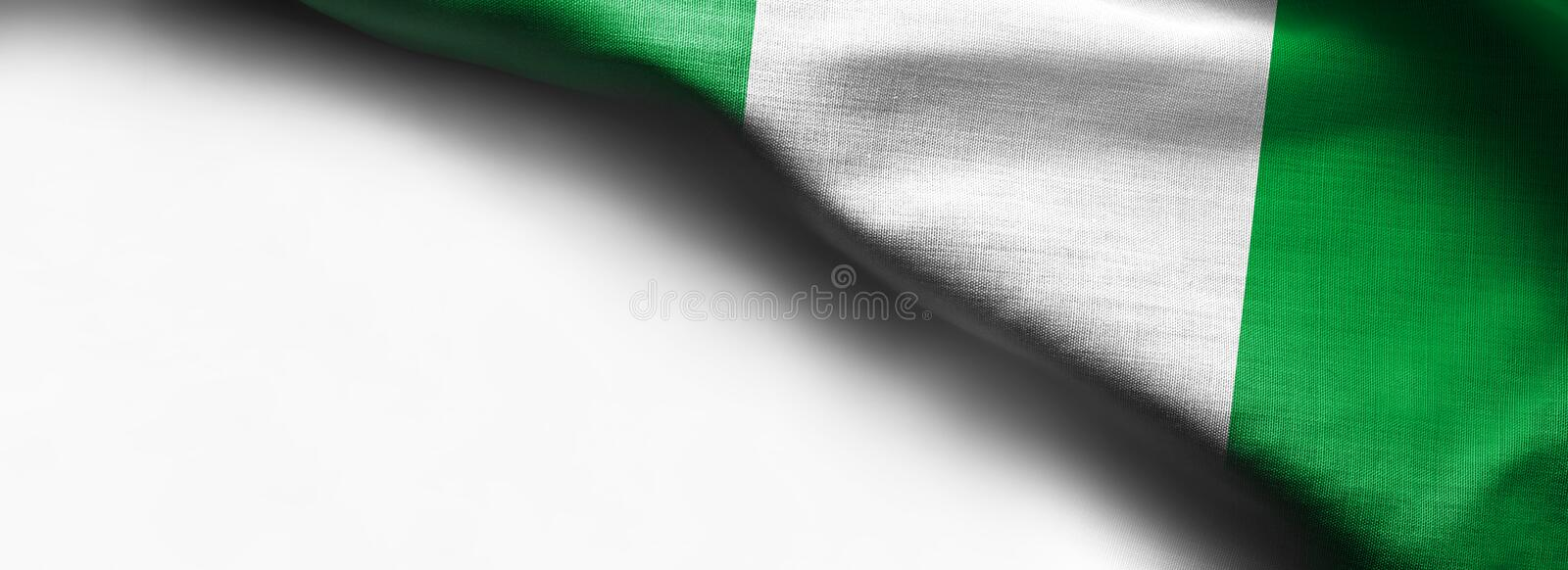 Nigerian waving flag on white background. Right top corner flag royalty free stock images