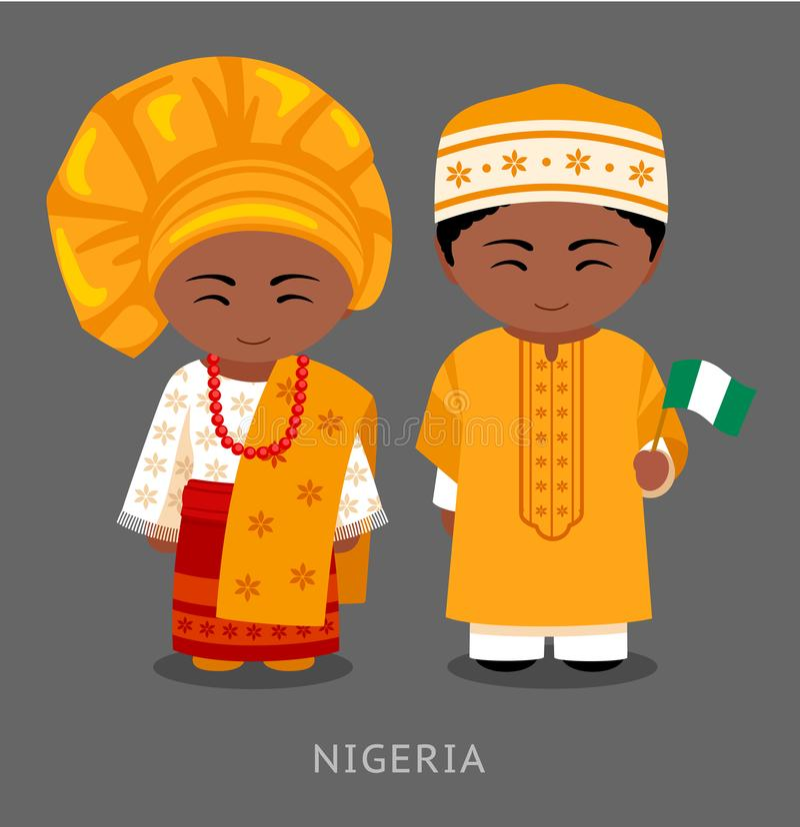 Nigerians w obywatelu odziewają z flaga