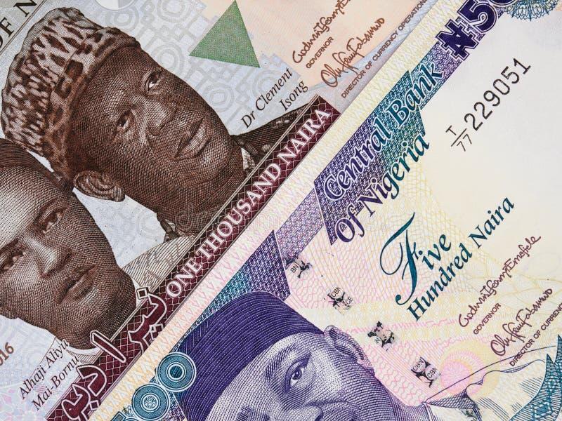 Nigeryjskiego waluty naira środkowi banknoty, Nigeria pieniądze zdjęcie stock