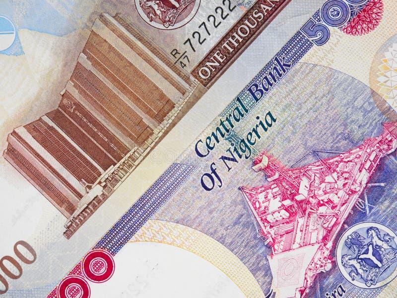 Nigeryjskiego waluty naira środkowi banknoty, Nigeria pieniądze fotografia royalty free