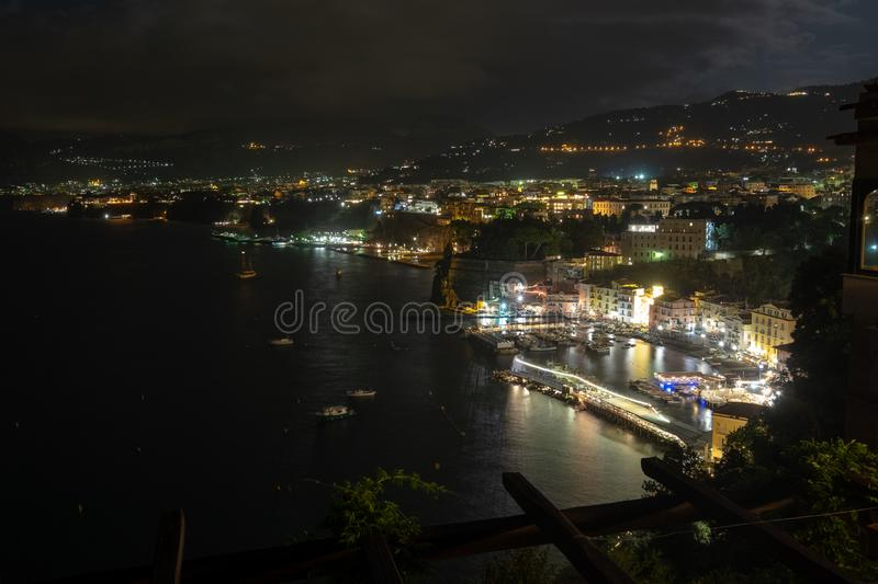 Nigh cityscape in Sorrento, Italy. Night cityscape from cliff in Sorrento, Italy during summer stock photo