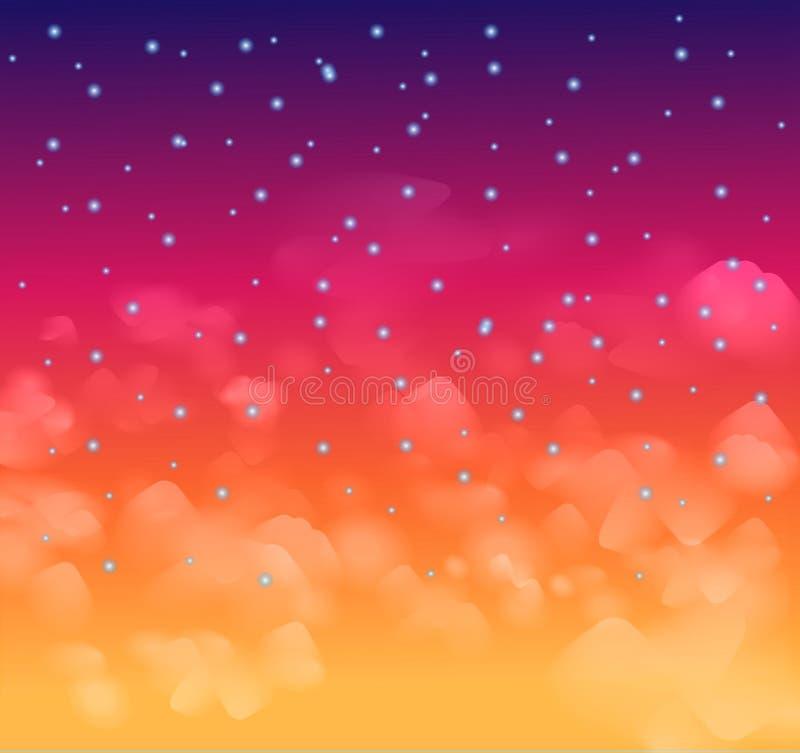 Nigh um céu mágico com estrelas e delecate nubla-se ilustração stock