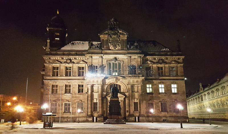 Nigh view of Dresden streets, buildings, churches and squares. Nigh view of Dresden streets, buildings, churches, and squares in winter at night royalty free stock images