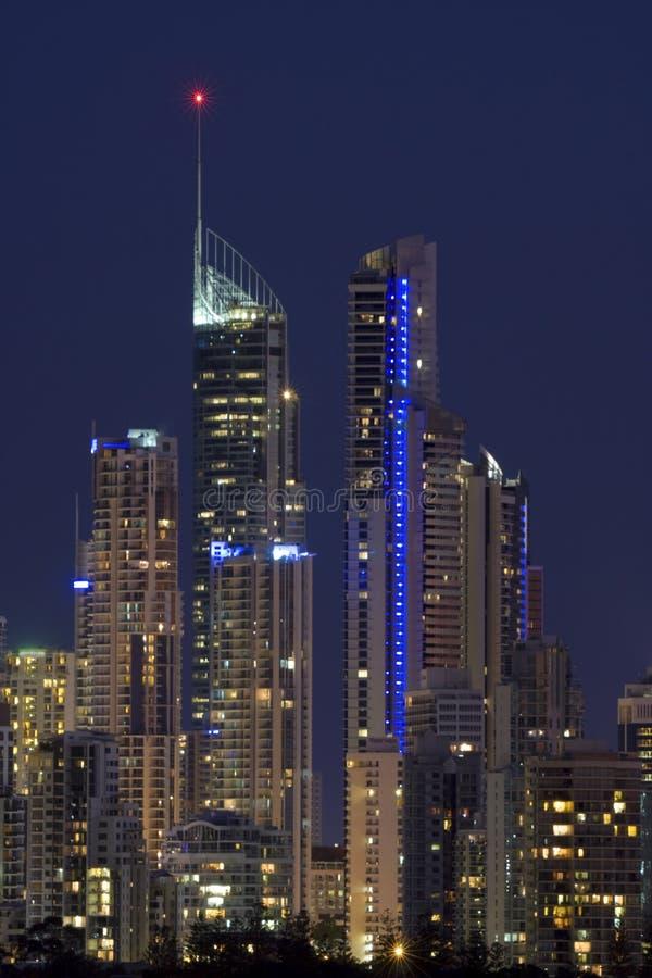 Nigh view of Gold Coast Australia royalty free stock image