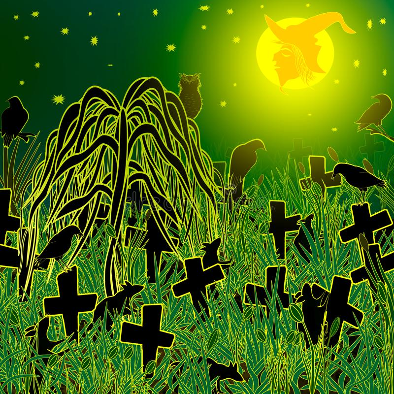 Night at an abandoned Halloween in the cemetery. royalty free stock image