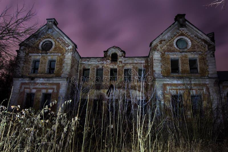Night at abandoned mansion of baron Karl von Meck. Railway king stock photography