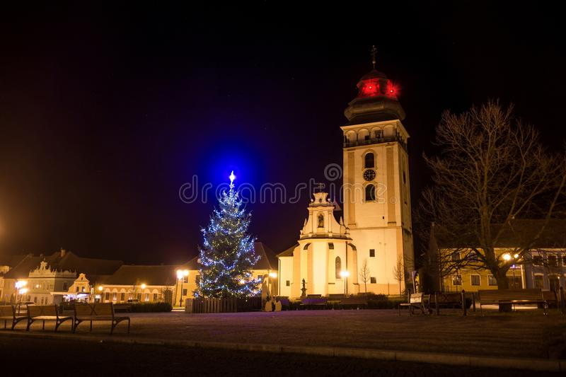 Night above historic center of Bechyne with christmas tree. royalty free stock photo