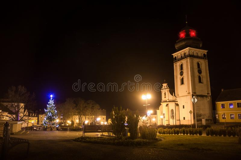 Night above historic center of Bechyne with christmas tree. stock images