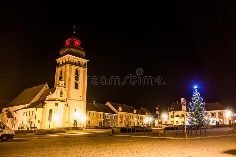 Night above historic center of Bechyne with christmas tree. stock photography