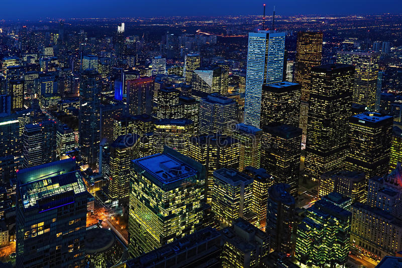 Night aerial of Toronto city center. A Night aerial of Toronto city center stock images